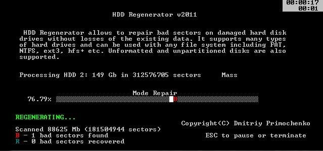 phần mềm test bad ổ cứng chuẩn hdd regenerator