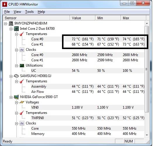 kiểm tra nhiệt độ laptop
